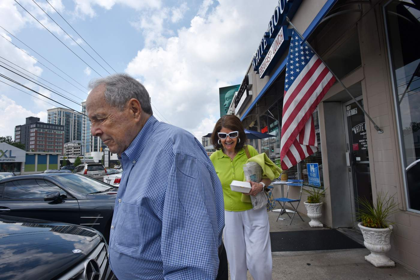 Former Atlanta Mayor Sam Massell and his wife Sandra Gordy leave White  House Restaurant in Buckhead one Sunday in July. Massell, 90, is president  of the ...