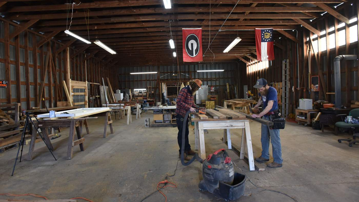 The brothers at work in the Sons of Sawdust studio.